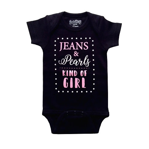 Jeans & Pearls Kind Of Girl Onesie