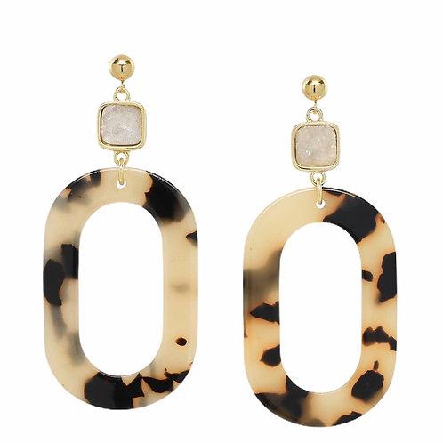 Tortoise Druzy Earrings