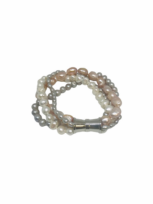4 Strand Baroque Mixed Pearls Bracelet