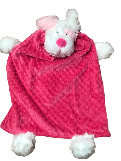 Pink and White Patch Dog Blanket Buddy