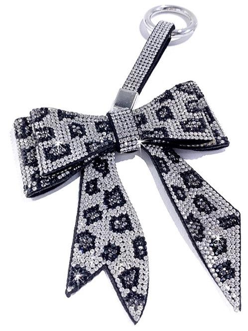 Bow Keychain/ Purse Charm Snow Leopard