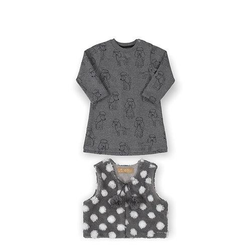 Grey Dog Dress With Vest
