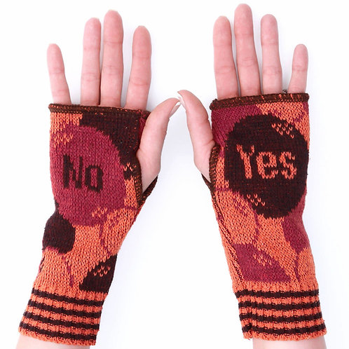 Women's Recycled Cotton Hand Warmer Fingerless Gloves -No Yes