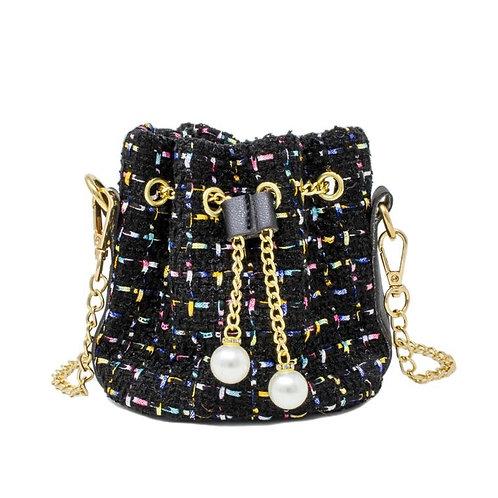 Tweed Drawstring Bag (Black)