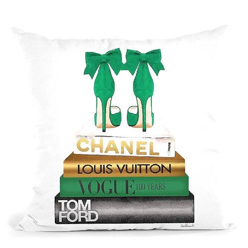 Green Heels On Books  Pillow