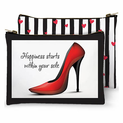 Zippered Bag - Happiness Starts Within Your Sole