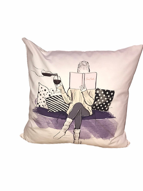 Wine and Book Pillow
