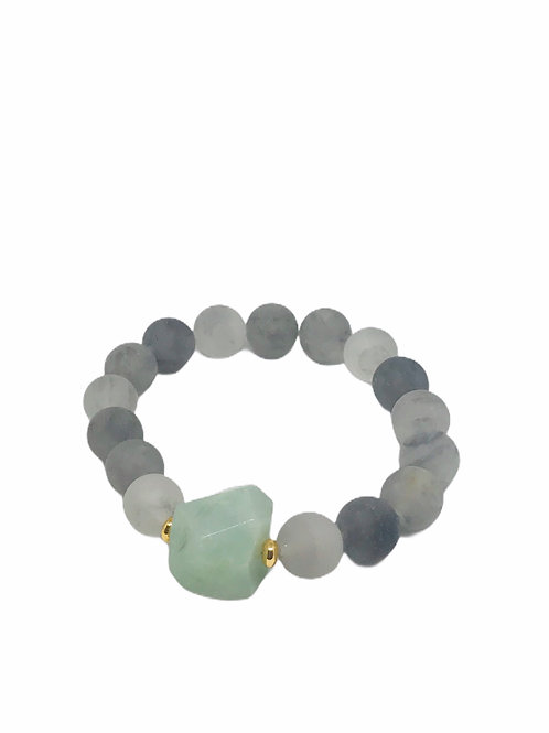 Amazonite + Cloudy Quartz Stretch Bracelet