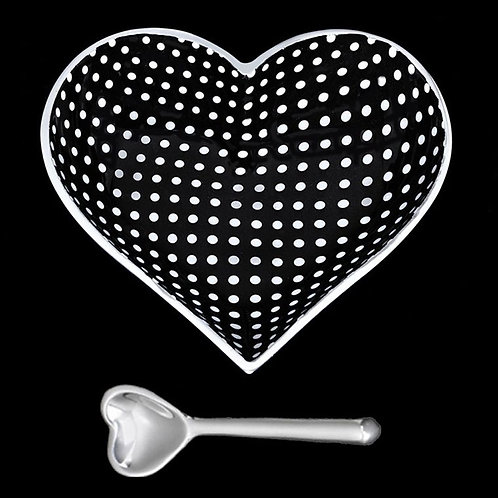 Happy Black Heart With White Dots with Lil Heart Spoon