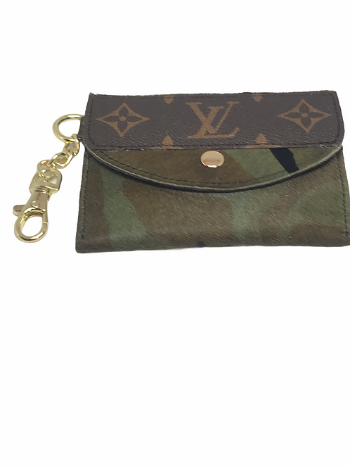 Camo Upcycled  LV Keychain Card Holder