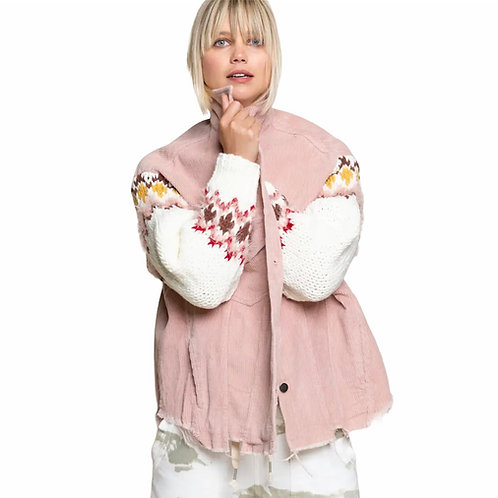Pink Corduroy Jacket With Knit Sleeve