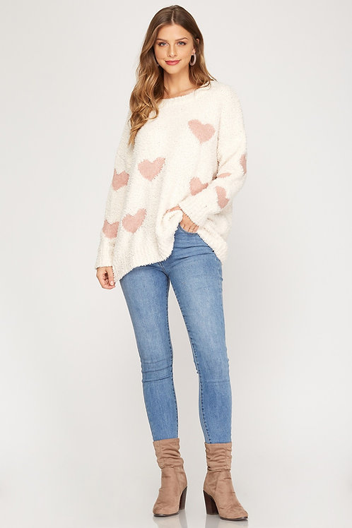 Cream Sweater With Hearts