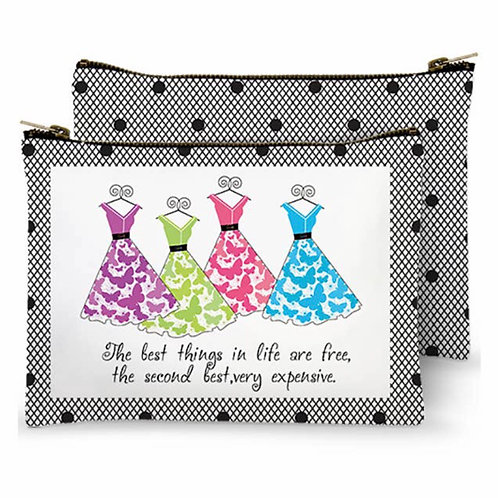 Zippered Bag - The best things in life are free, the second best, very expensive