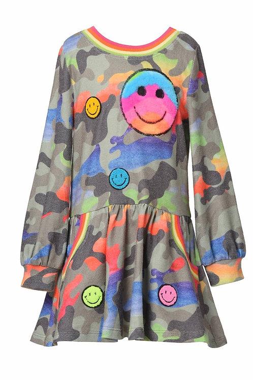 Long Sleeve Rainbow Camo Print Dress W/ Happy Face Trims