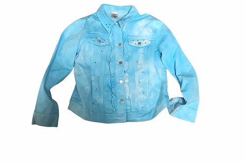 Blue and White Tie Dye Denim Jacket