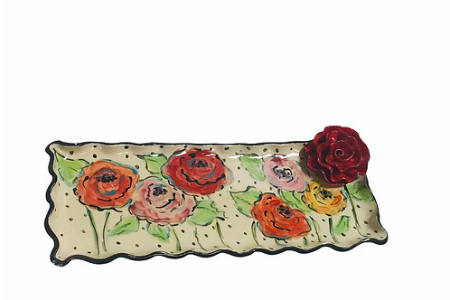 Floral Platter With Red Rose In Corner