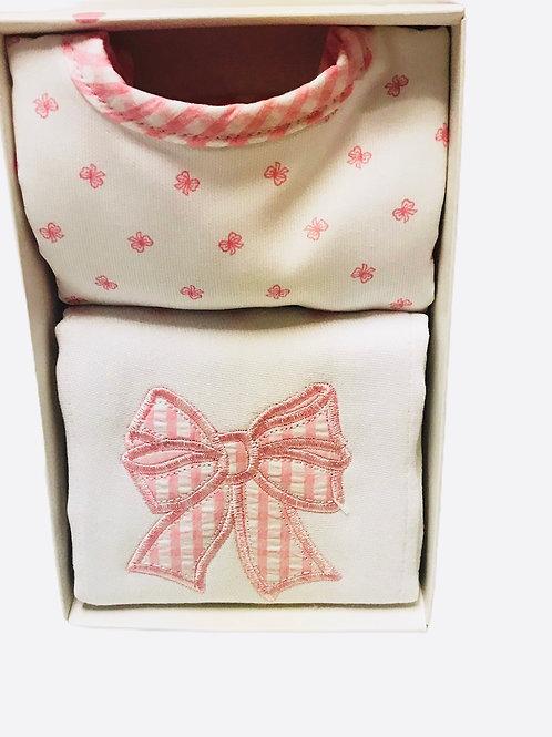 Pink Bow Burp Cloth & Bib