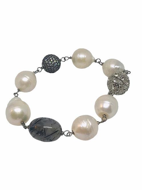 Pearl and Quartz Bracelet