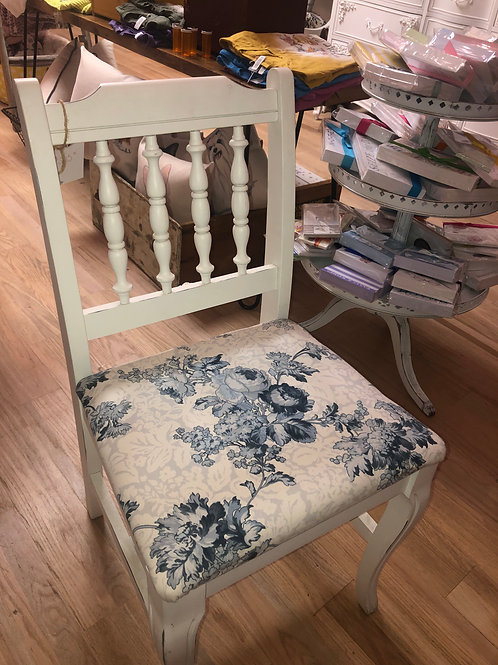 White Chair with Blue Fabric