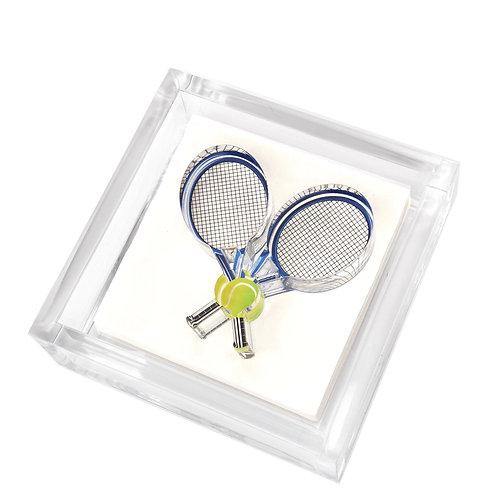 Cocktail napkin holder - tennis racquets