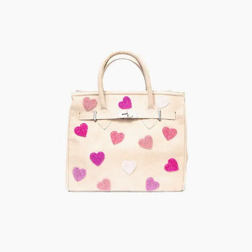 Jute Bag with Beaded Hearts