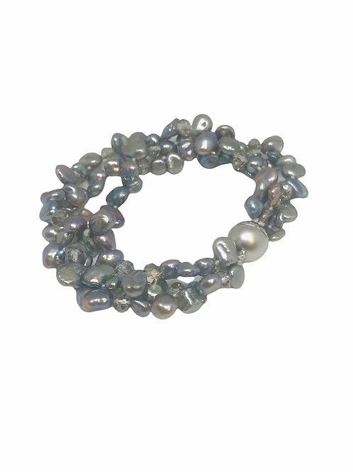 3 Strand Gray Keshi & Crystal Bracelet