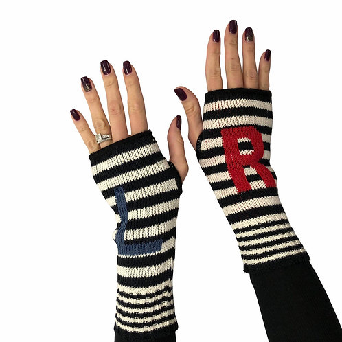 Women's Recycled Cotton Hand Warmer Fingerless Gloves - L R