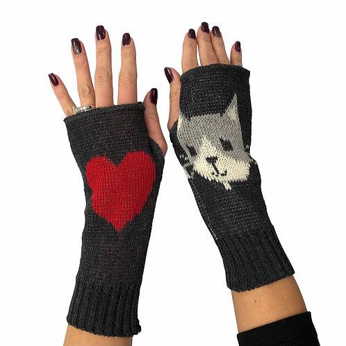Women's Recycled Cotton Hand Warmer Fingerless Gloves -Cat