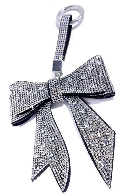 Bow Keychain/ Purse Charm Silver