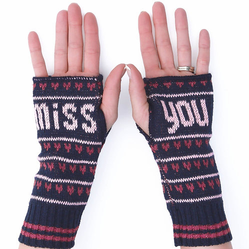 Women's Recycled Cotton Hand Warmer Fingerless Gloves -Miss You