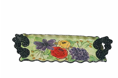 Floral Platter With Handles