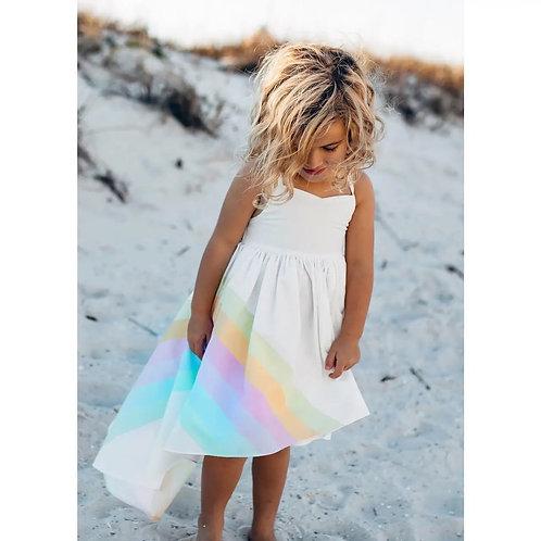 Pastel Rainbow Hi-Lo Frills Dress