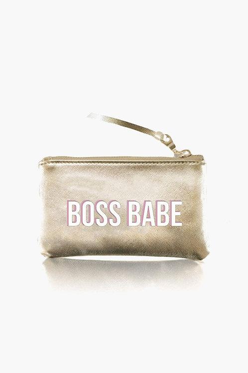 """Boss Babe"" Gold Pouch"
