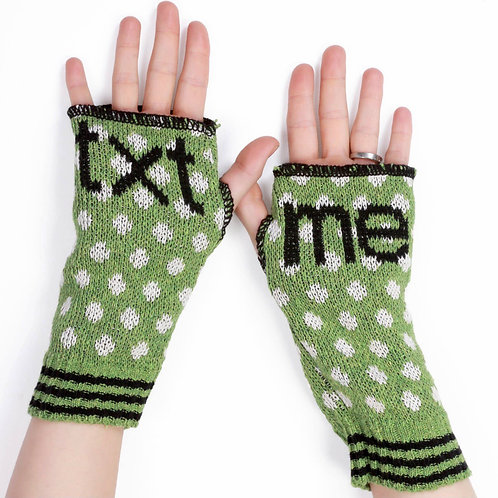 Women's Recycled Cotton Hand Warmer Fingerless Gloves -Text Me