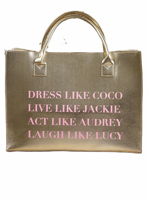 """Dress Like Coco"" Gold Vegan Tote"