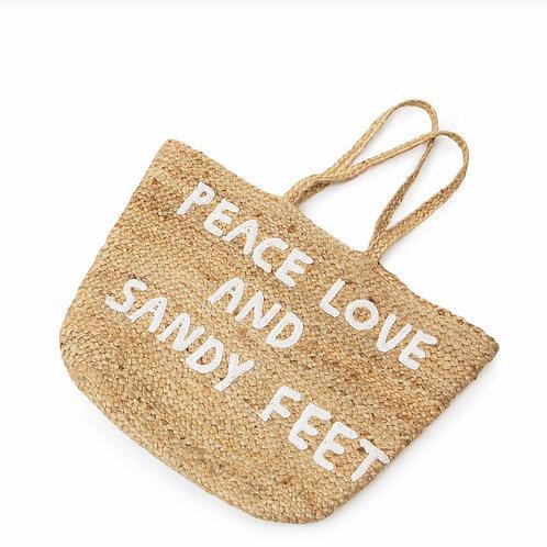 Peace Love and Sandy Feet Jute Bag