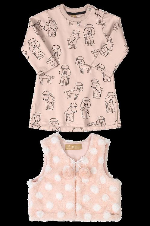 Pink Dog Dress With Vest