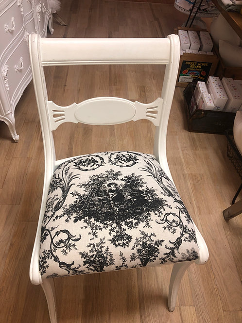 Vintage White Chair With Black and White Fabric