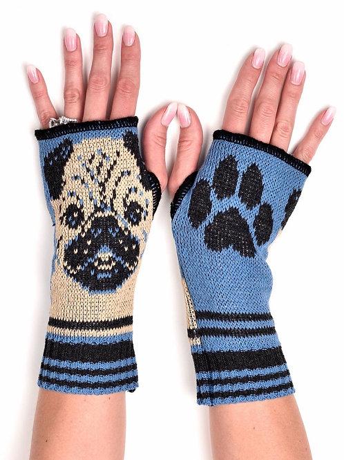 Women's Recycled Cotton Hand Warmer Fingerless Gloves -Pug