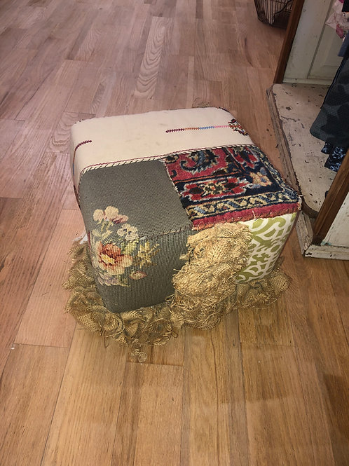 Patchwork Ottoman with Burlap Flowers