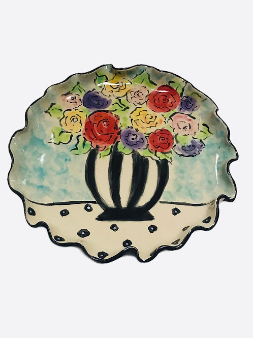Round Platter with Vase