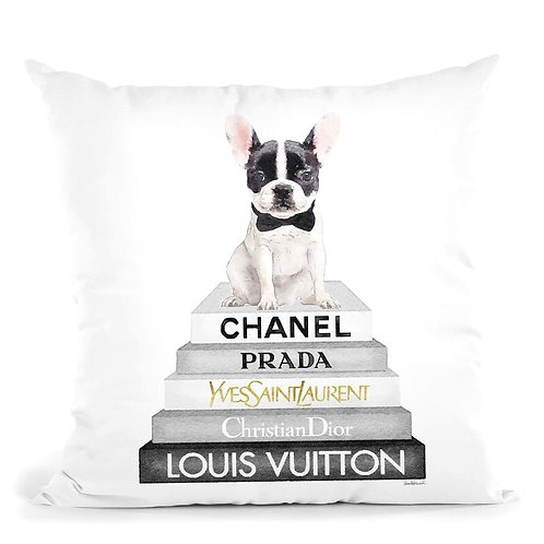 B&W Frenchie On Books Pillow