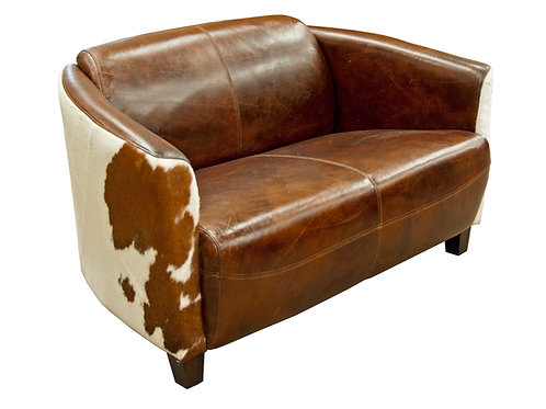 Vintage Brown-White 2er Sofa