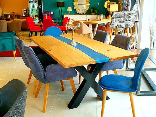 Galaxy River Blue Table mit Epoxid