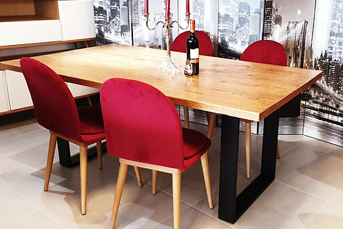 Set Industrial Oak & 4 Rozy Red Stühle