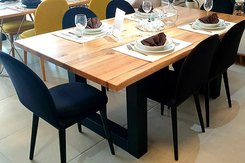 Set Oak Table & 6 Rozy Black Stühle