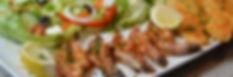 Prawns, Salad, Hake