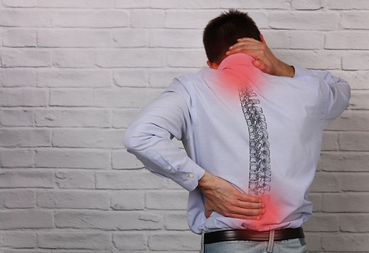 Man suffering from back and neck pain. I