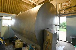 Bulk milk tank in the dairy