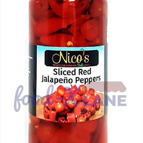 Nico's Jalapeno red peppers slices 480gr